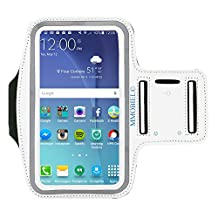 Sportband for Samsung S8 S7 S6 S6 Edge S5 S4 A3 Series 5.0 Inch White Armband Sweat Proof Soft Neoprene Stretchable Velcro Strap Reflective StripDual Arm Slots MMOBIEL