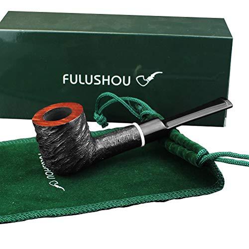 (FULUSHOU Mediterranean Briar Wood Tobacco Pipe, Delicate Carved Straight Handle Pipe 2)
