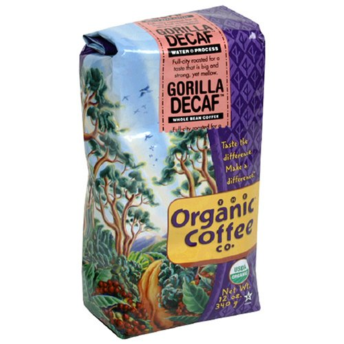 The Organic Coffee Co. Whole Bean, Decaf Gorilla, 12 Ounce (Pack of 2)