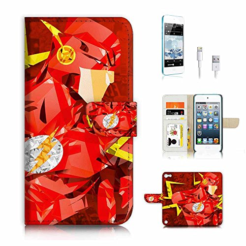 ( For ipod 5, itouch 5, touch 5 ) Flip Wallet Case Cover & Screen Protector & Charging Cable Bundle! A4265 Flash Superhero