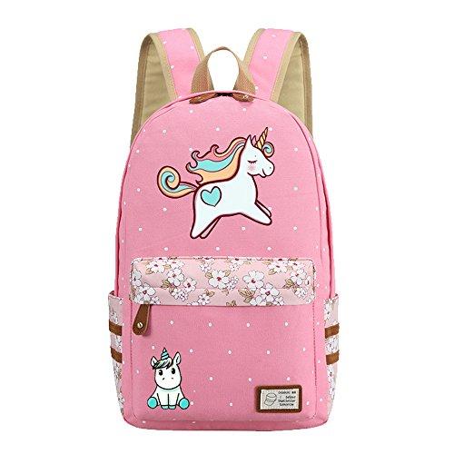 Kids Girls Floral Animal Cartoon Funny School Backpack Cute Unicorn Pink Travel Shoulder Bag (Pink unicorn)