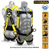 KwikSafety 3 D-Ring Industrial Fall Protection Safety Harness w/ Back Support | OSHA Approved Full Body Personal Protection Equipment | Construction Carpenter Scaffolding Roofing Aerial Security Gear