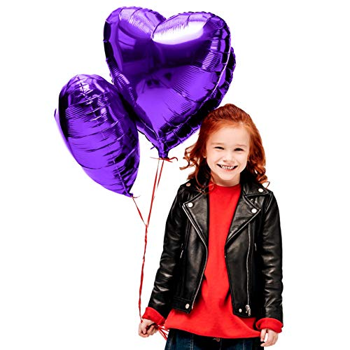 Treasures Gifted Valentines Day Heart Love Decorations in Violet Purple Foil Mylar Balloons for Birthday Bridal Shower Wedding Engagement Party Graduation Supplies (6 Pack)