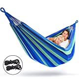 Sorbus Brazilian Double Hammock - Extra-Long Two Person Portable Hammock Bed for Indoor or Outdoor Spaces - Hanging Rope, Carrying Pouch Included
