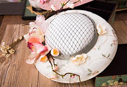 Nupcial De Novia Fascinator Sombrero Lily Garden Real z Malla Elegence Hat blanco Ms Vintage qzZzSv