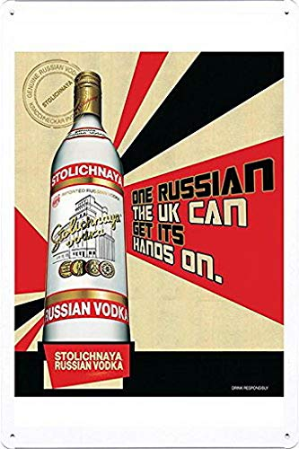 (MarinaPolly Tin Sign Metal Poster Plate of Stolichnaya Russian Vodka: ONE Russian by Food & Beverage Decor Sign - 8×12)