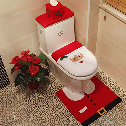 Martine Mall 3D Nose Santa Toilet Seat Cover Set Red Christmas Decorations Bathroom Set of 3 (Santa Bathroom Accessories)