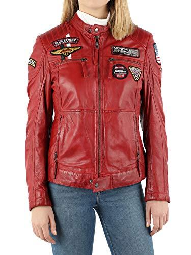 MONOMOI Lederjacke Damen, schwarz, rot, Motorradjacke Damen aus Leder mit Protektoren, Bikerjacke Damen aus Echtleder