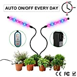 Grow Light, Auto ON & OFF Every Day with Two-way Timer 24W Dual Head Growing Lamp for Indoor Plants, High Power LED, 8 Dimmable Levels, 4/8/12H Memory Timing for Hydroponics Greenhouse Gardening Review