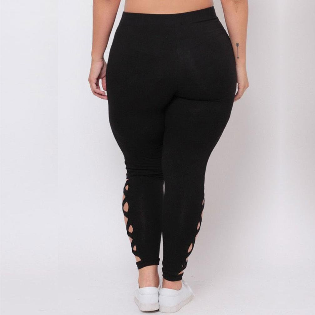 31cbb79c8721f Amazon.com: GBSELL Women Plus Size Hollow Out Elastic Leggings Criss-Cross  Sport Pants Workout Clothes: Sports & Outdoors