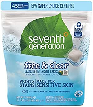 Seventh Generation Free & Clear Laundry Detergent Pack 45 Count (900 gm)