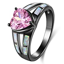 Womens Rings Cubic Zirconia Fire Opals Black Plated Heart Shape Lovers ring Wedding Jewelry Size 9