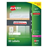 """Avery Durable White Cover Up ID Labels for Laser Printers, 0.625"""" x 3"""", Pack of 1600 (6577)"""