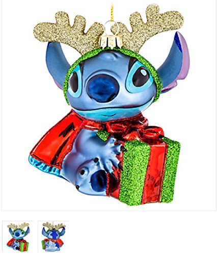 (Disney Parks Reindeer Stitch with a Present Blown Glass Ornament)