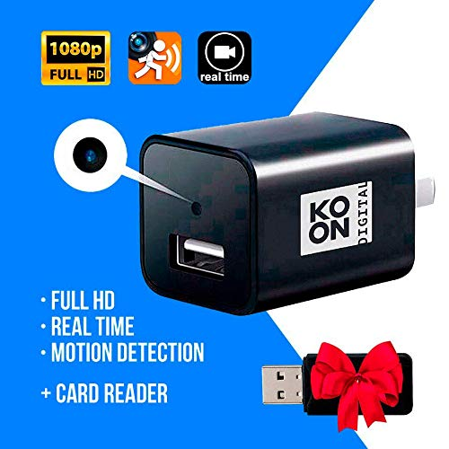 KONO DIGITAL Spy Camera - Hidden Camera - Motion Detection - USB Hidden Camera - Mini Spy Camera - USB Camera - Spy Camera Charger - Hidden Camera Charger - Nanny Cam - Hidden Spy Cam - Hidden Cam