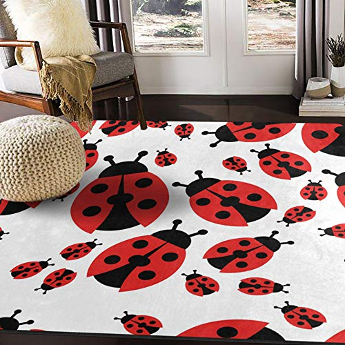ALAZA Cartoon Red Ladybug Area Rug Rugs for Living Room Bedroom 5'3