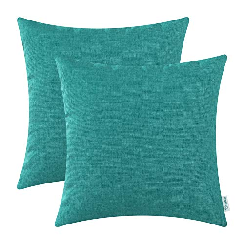 CaliTime Pack of 2 Throw Pillow Covers Cases for Couch Sofa Home Decoration High Class Faux Linen Solid Color 18 X 18 Inches Teal