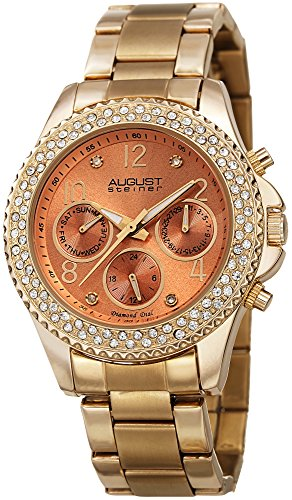 August Steiner Women's Multifunction Watch - 3 Subdials Day, Date and GMT On Colored Dial Crystal Filled Bezel on Stainless Steel Bracelet - AS8136
