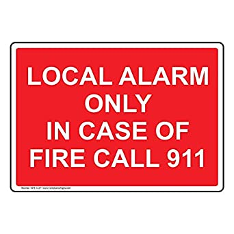 ComplianceSigns Plastic Fire Alarm Sign, 7 x 5 in. with ...