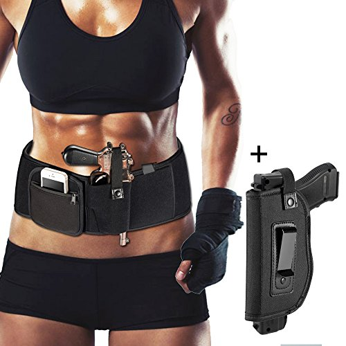 Mokeneye Right-Handed Belly Band Holster Concealed Carry Airsoft Pistol Holster,Elastic Hand Gun Holder Pistols Revolvers, Concealed Carry IWB Holster