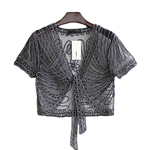 Cutecc Women's Short Sleeve Crochet Mesh Shrug Cardian Shawls Top (XXL, Black+Black&White)