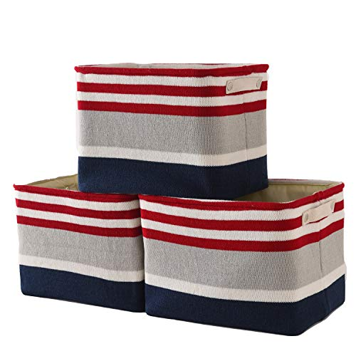 TheWarmHome Storage Bins Baskets for Shelves|Fabric Storage Bins for Cloth Storage [3-Pack] Storage Baskets, Toy Basket for Gifts with Sturdy Rod (Stripe, 3Pack-16L12W12H)