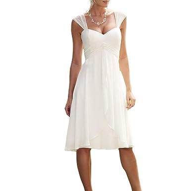 Sophie Kate SophieKate Simple Cap Sleeve Chiffon Beach Wedding Dress ...