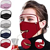 Pordia 5PC Adult Solid Masque Reusable Washable Detachable Button Zipper Opening Design Easy to Drink Protective Face Bandanas Dustproof Mascara with Eyes Shield Men Women