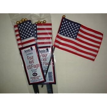 bad2e9eb6854 Amazon.com  Mini USA American Flag 4 Inches x 6 Inches - Pack of 4 ...