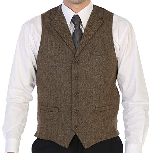 Gioberti Men's 5 Button Tailored Collar Formal Tweed Suit Vest, Khaki Herringbone, Size Small