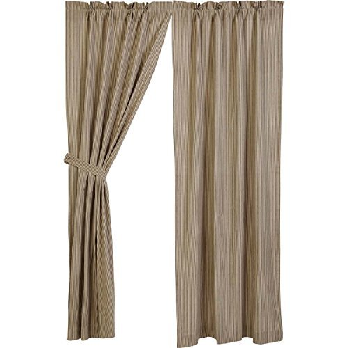 (Primitive Star Lined Country Stripe Panel Curtains 84