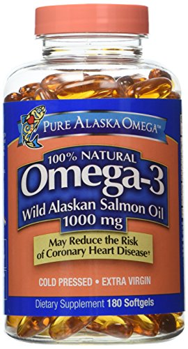 Pure Alaska Omega Wild Alaskan Salmon Oil 1000 mg - 2 Bottles, 180 Softgels Each