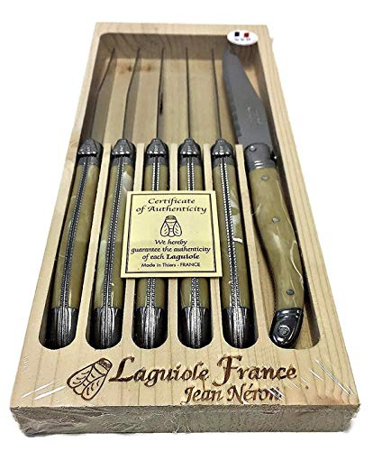 Neron Coutellerie Laguiole 6 Piece Set Steak Knives with Pale Horn Plated Marble Handle in Wooden Box by Jean Neron