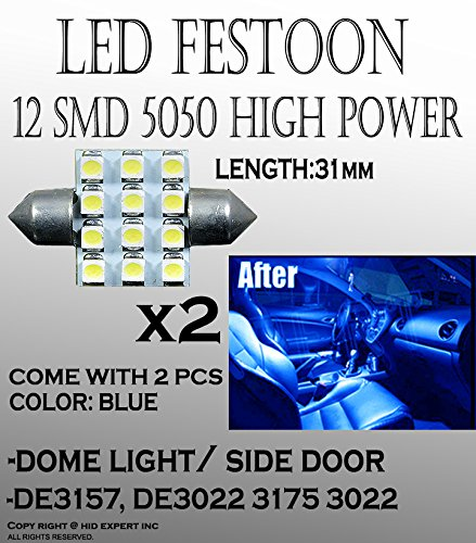 2pcs DE3021 31mm LED Car doom Light Bulbs 12SMD Car Lamp Festoon Blue Bulbs cool