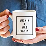detroit lions freezer mug - Wishing I Was Fishing Mug, White Mug, Coffee Mug, Gift for Friend, 11oz 15oz