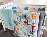 NAUGHTYBOSS Baby Bedding Set Cotton Early Education 3D Embroidery Letter Elephant Quilt Bumper Mattress Cover Blanket 8 Pieces Blue