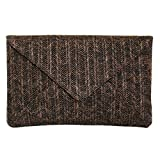 JNB Women's Straw Envelope Clutch Brown