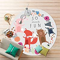 S-ssoy Round Kids Rug Printing Cartoon Animal Design Mat Soft Smooth Carpet Child Play Area Rug for Children Stairway Toilet Study Floor Bedroom Living Room Bathroom Kitchen Home Nursery Decoration