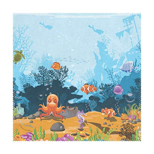 Lovexue Placemats Ocean Sea World Fish Aquatic Coral Square Place Mats for Dining Washable Polyester Kitchen Kids Table Coffee Mats 1 Piece -