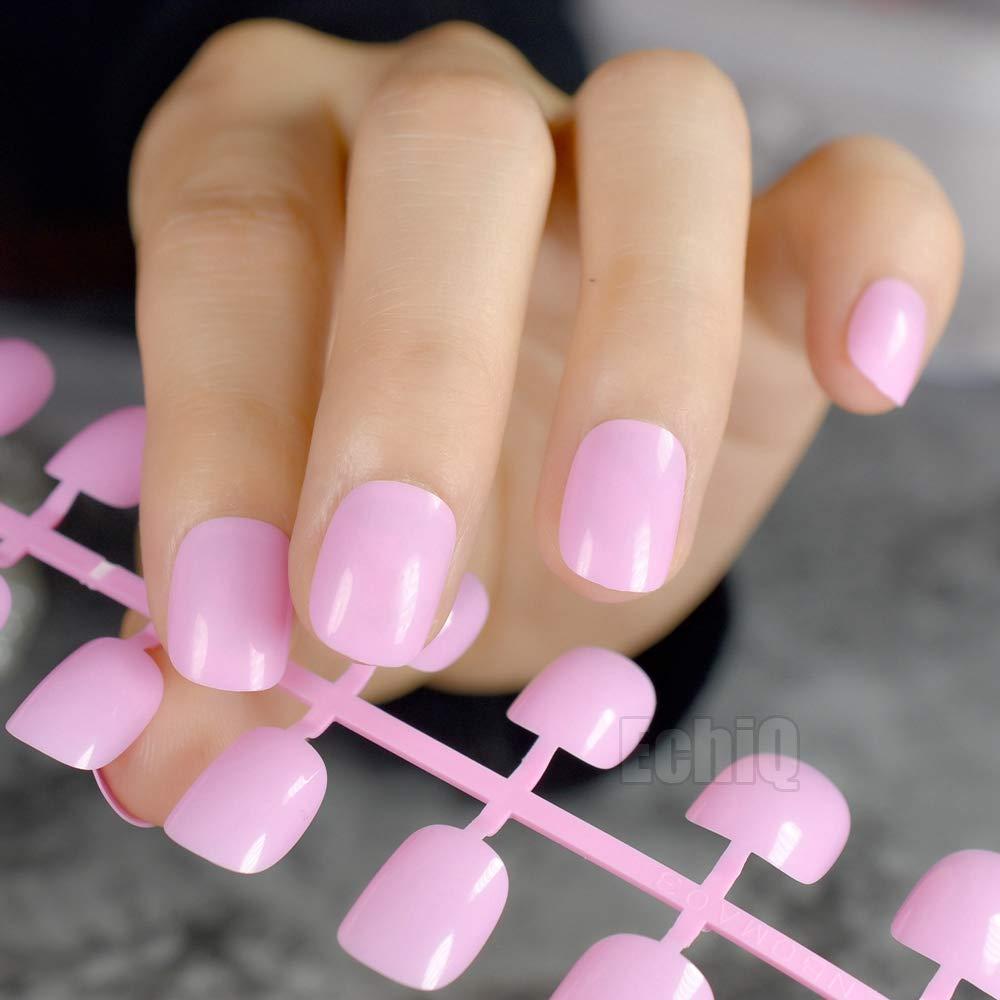 24 uñas postizas de color rosa claro para uñas postizas, uñas ...