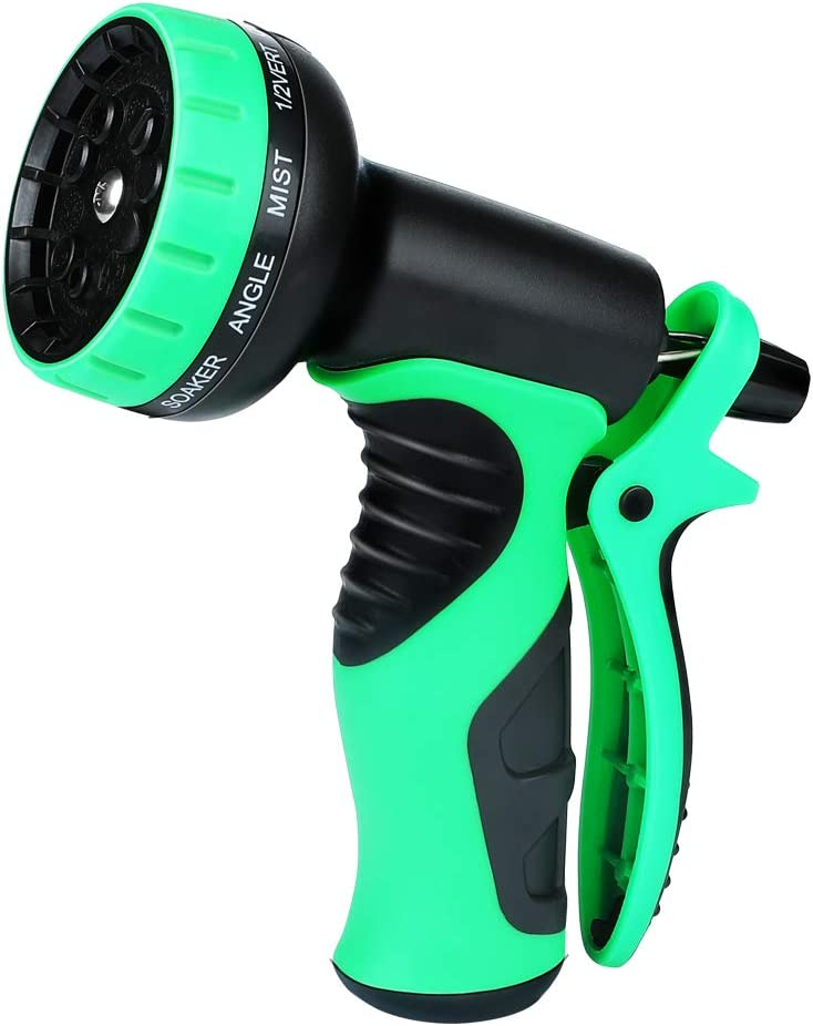 Powsure Garden Hose Nozzle - Heavy Duty Metal Spray Gun with 10 Adjustable Patterns, Brass Nozzle, Rotaing Water Nozzle- High Pressure Sprayer for Watering,Plants,Car Wash and Pets Shower