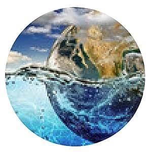 alfombrilla de ratón Tierra se sumerge en agua, entre las nubes sobre el cielo. - ronda - 20cm