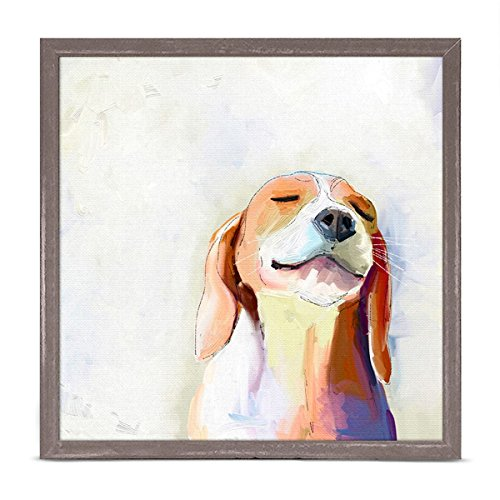 (GreenBox Art + Culture Best Friend Beagle Grin by Cathy Walters 6 x 6 Mini Framed Canvas, Rustic Natural)