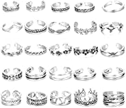 Hanpabum 25Pcs Open Toe Rings Set for Women Girls Vintage Retro Finger Ring Various Types Knuckle Ring Adjusta