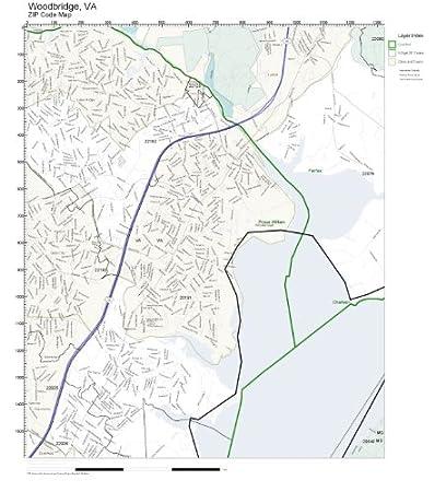 Amazon.com: ZIP Code Wall Map of Woodbridge, VA ZIP Code Map Not
