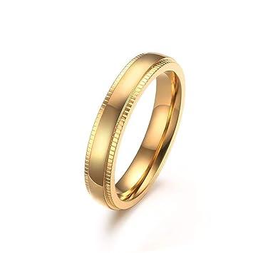Weiwei Anillo Anillos 4mm Oro Relieve Anillo Unisex Boda Anillo de Acero Inoxidable Varonil
