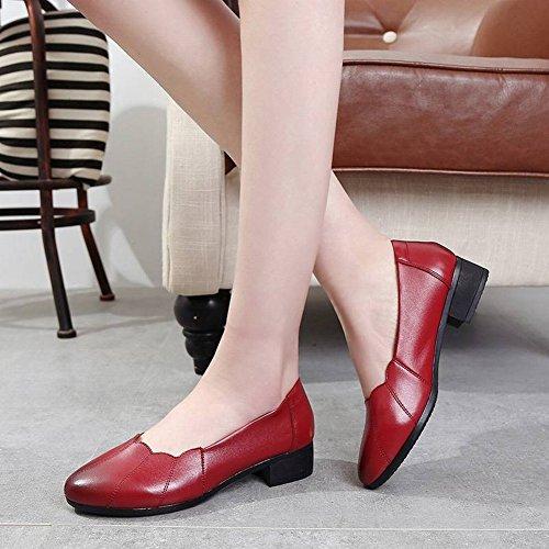 Edad con Solo TYERY con Baja Cómoda Mujer Mediana Boca Edad de Profesional 40 Gruesa Cuero Negro de Zapatos Y de Trabajo Zapatos Negro Femeninos q77Iw4