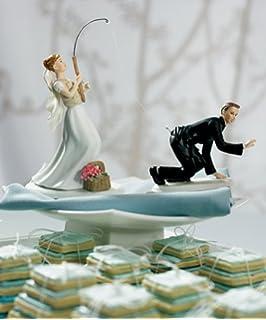 Amazon qtmy funny fishing wedding cake toppers couple wedding gone fishing porcelain wedding cake topper caucasian couple 2 set 1 bride junglespirit Choice Image