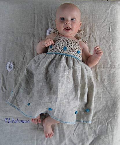 0mnths-2T wedding baby, linen baby dress, dress with blue, blu and grey dress girl baby photo drop (Dress Sew Princess)