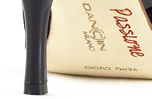 Scarpe da ballo linea Atelier Passione Tango con inserti in pelle metallic platinum nera tc 8,5 cm